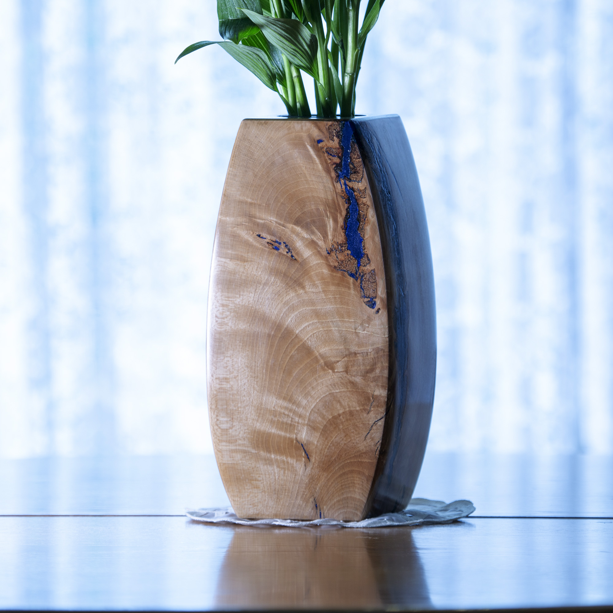 Handmade Beech wood vase with marble inlay
