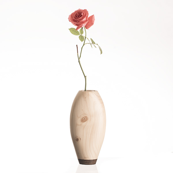 Vase made from redwood pine and wenge wood