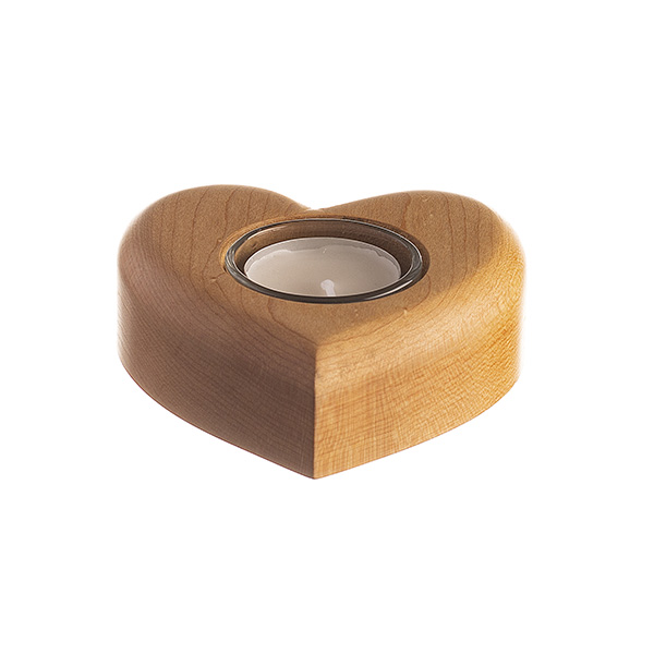 heart shaped tea light made from canadian maple wood