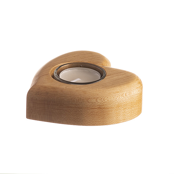 HEART TEA LIGHT HOLDER CANADIAN MAPLE WOOD