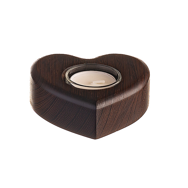 heart shaped tea light made from wenge wood