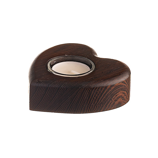 HEART TEA LIGHT HOLDER WENGE WOOD